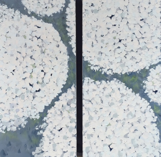 Potted Hydrangea diptych 48x24 each side